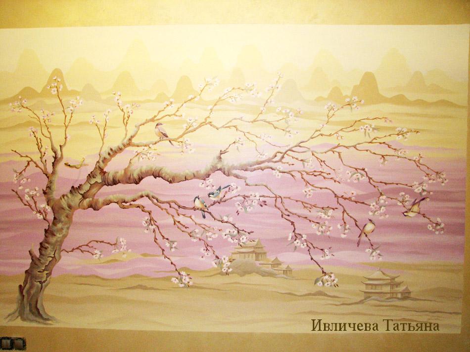 Сакура и горы на стене своими руками 37